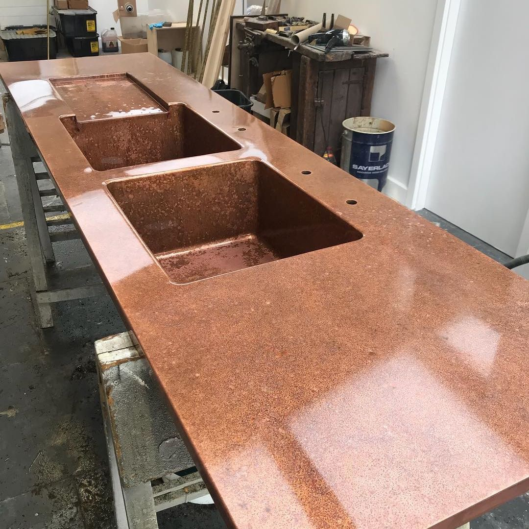 An aged copper worktop ready for deVOL's New York showroom