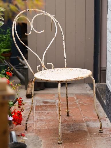 Cream Metal Garden Chair