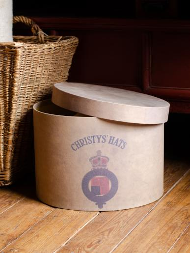 Antique Effect Oval Hat Box
