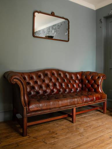 Buttoned Four Seat Leather Sofa