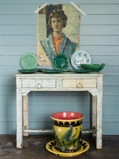 Small Painted Indian Table Two Drawers