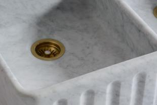 Tuscan Farmhouse 39 3/8'' Double Marble Sink photo 4 thumbnail