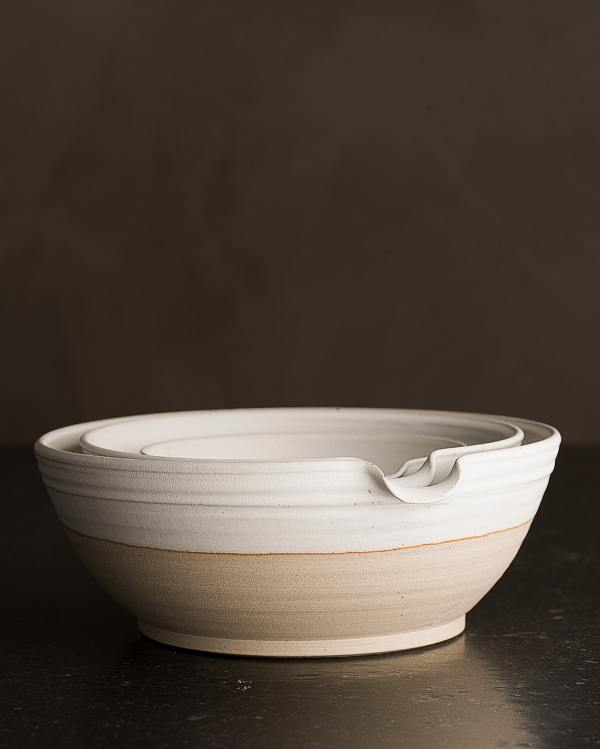 Set of 3 Natural White Pouring Bowls