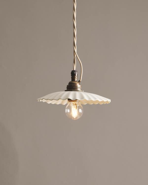 Small Narrow Pleat Porcelain Light